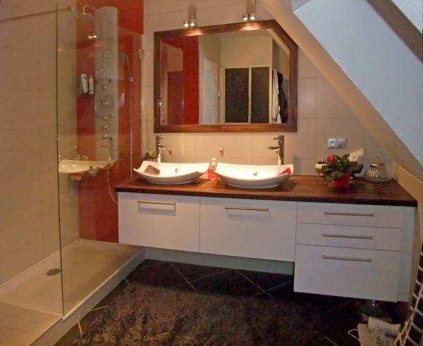 meuble double vasque plan palissandre