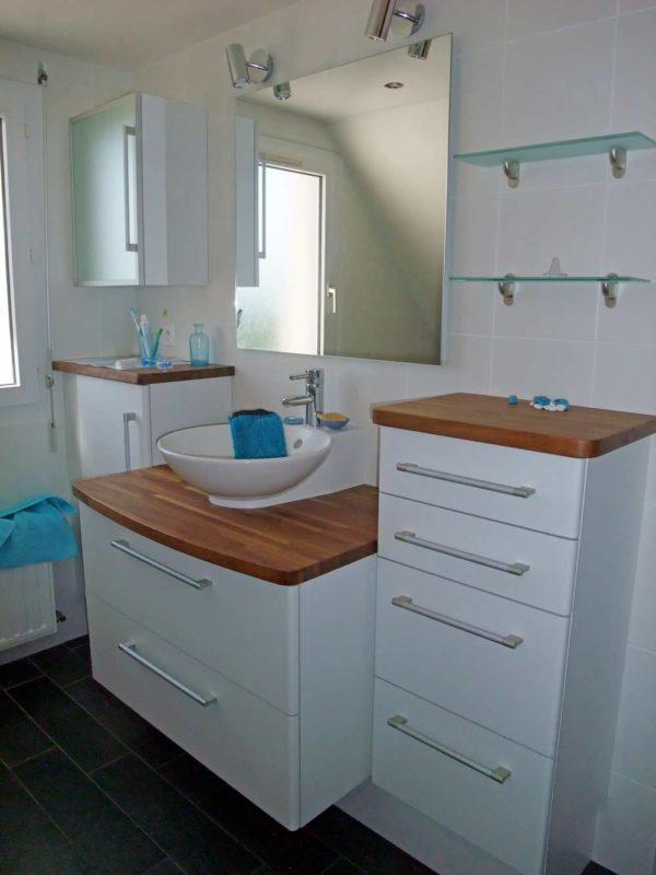 meuble salle de bains plan iroko lamellé-collé